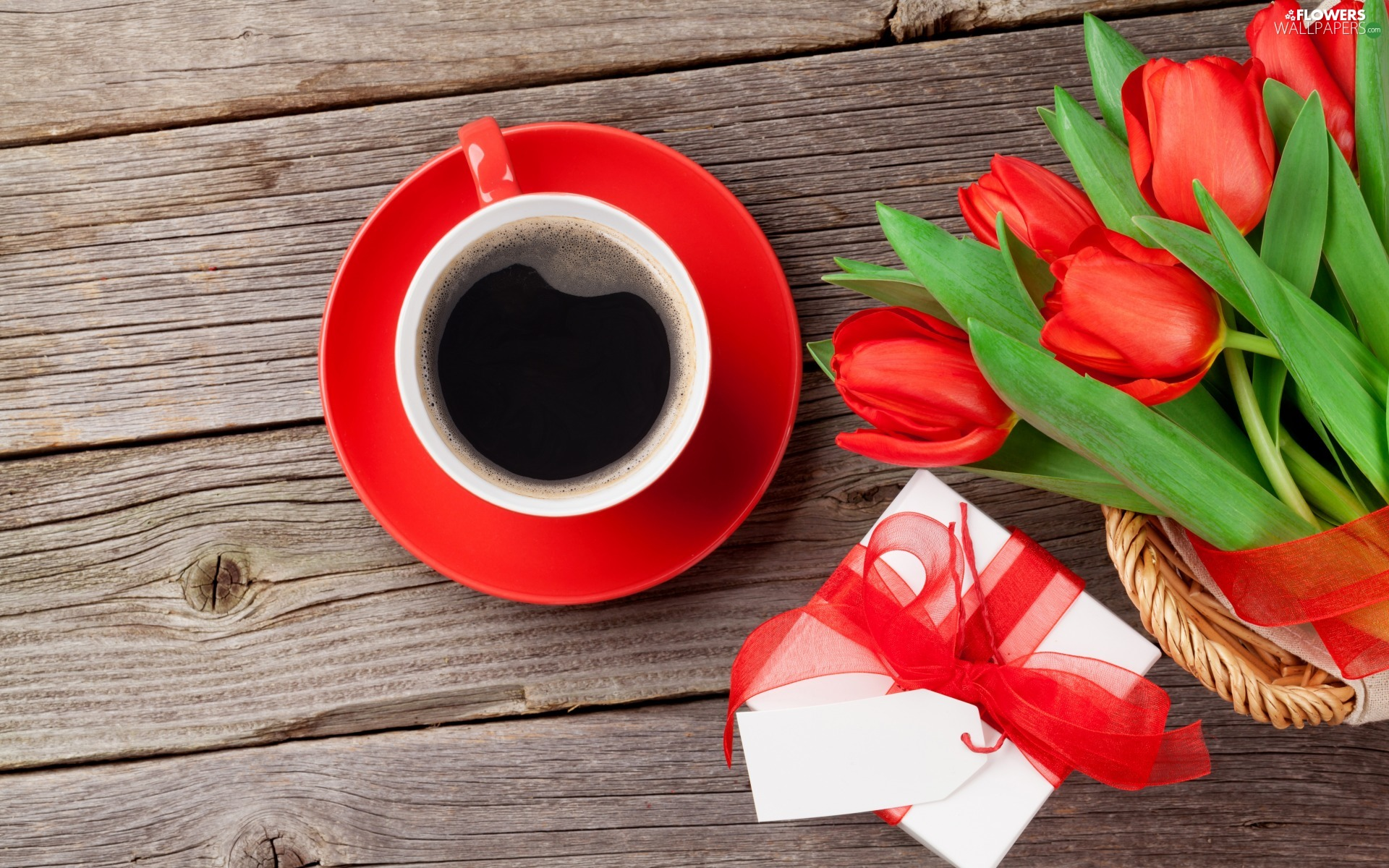 Present, Flowers, cup, coffee, bow, card, boarding, Red, Tulips, basket, plate