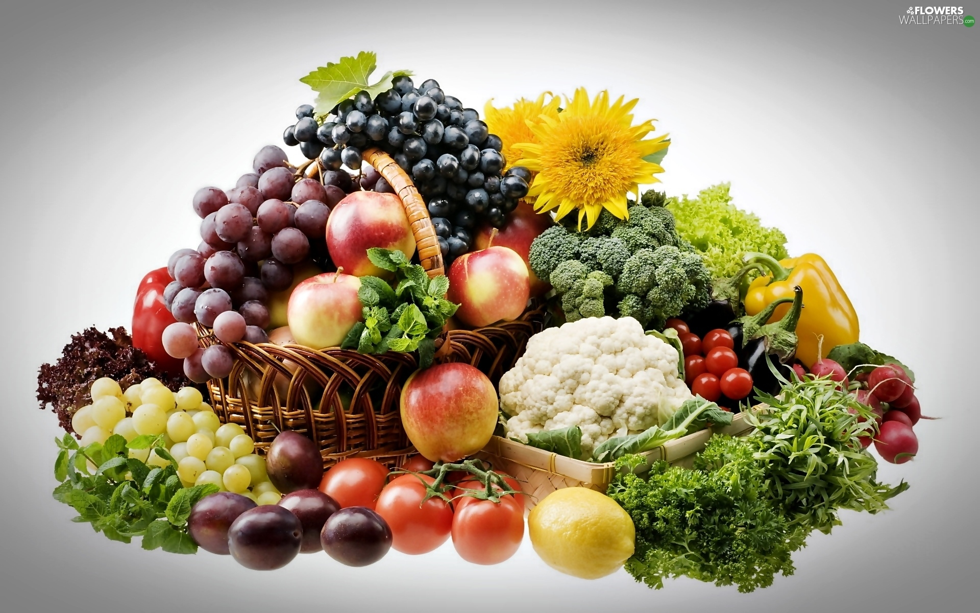 Flowers and fruits wallpapers - Grapes Flowers Apples Fruits Plums Vegetables