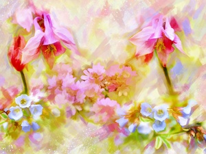 columbine, Flowers, Alberto Guillen, watercolor, picture