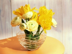 yellow, flowers, bouquet