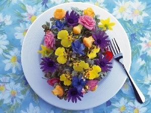 bouquet, plate, fork, flowers