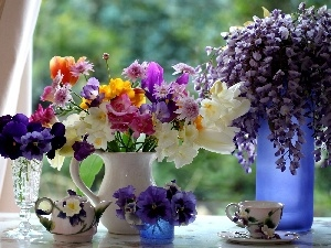freesia, pansy, Bouquets, wistaria, flowers