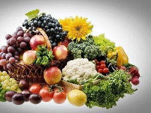 Grapes, Flowers, apples, Fruits, plums, vegetables