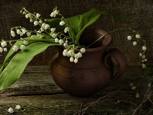 jug, earthen, wooden, lilies, Table