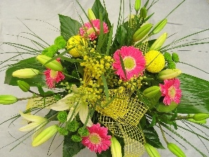 color, gerberas, lilies, bouquet