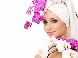 make-up, orchids, Women