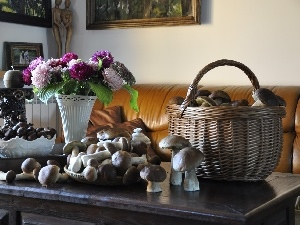 Bouquet of Flowers, basket, mushrooms