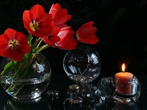 Tulips, decoration, Orb, candle, Glass, Red