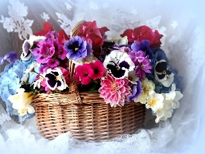 pansies, dahlias, Colorful, flowers, bouquet