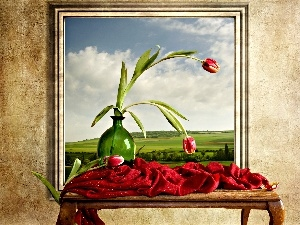 Tulips, bowl, picture, Table