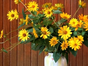 bouquet, flowers, Vase, yellow