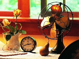 Watch, Book, Vase, ventilator, Flowers, Glasses