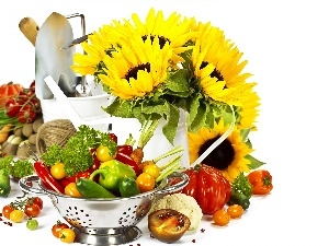 pepper, cucumbers, tomatoes, Nice sunflowers, composition, Bowl of Vegetables