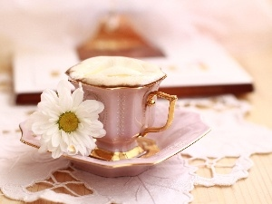 White, coffee, cup, Daisy, plate