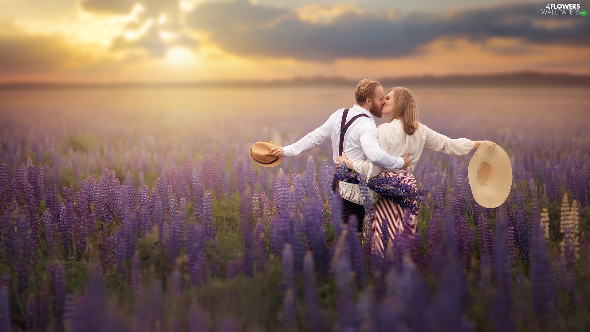 Women, kiss, lupine, a man, Meadow