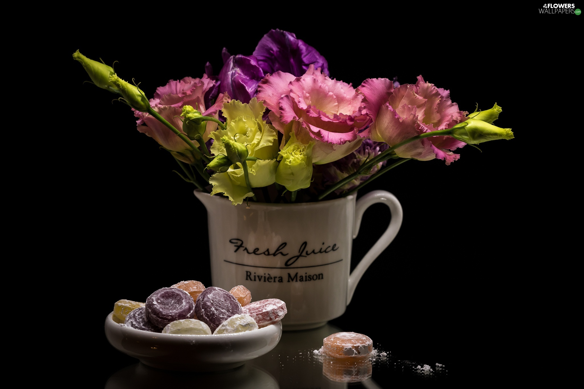 jug, Candies, Eustoma, composition, Flowers