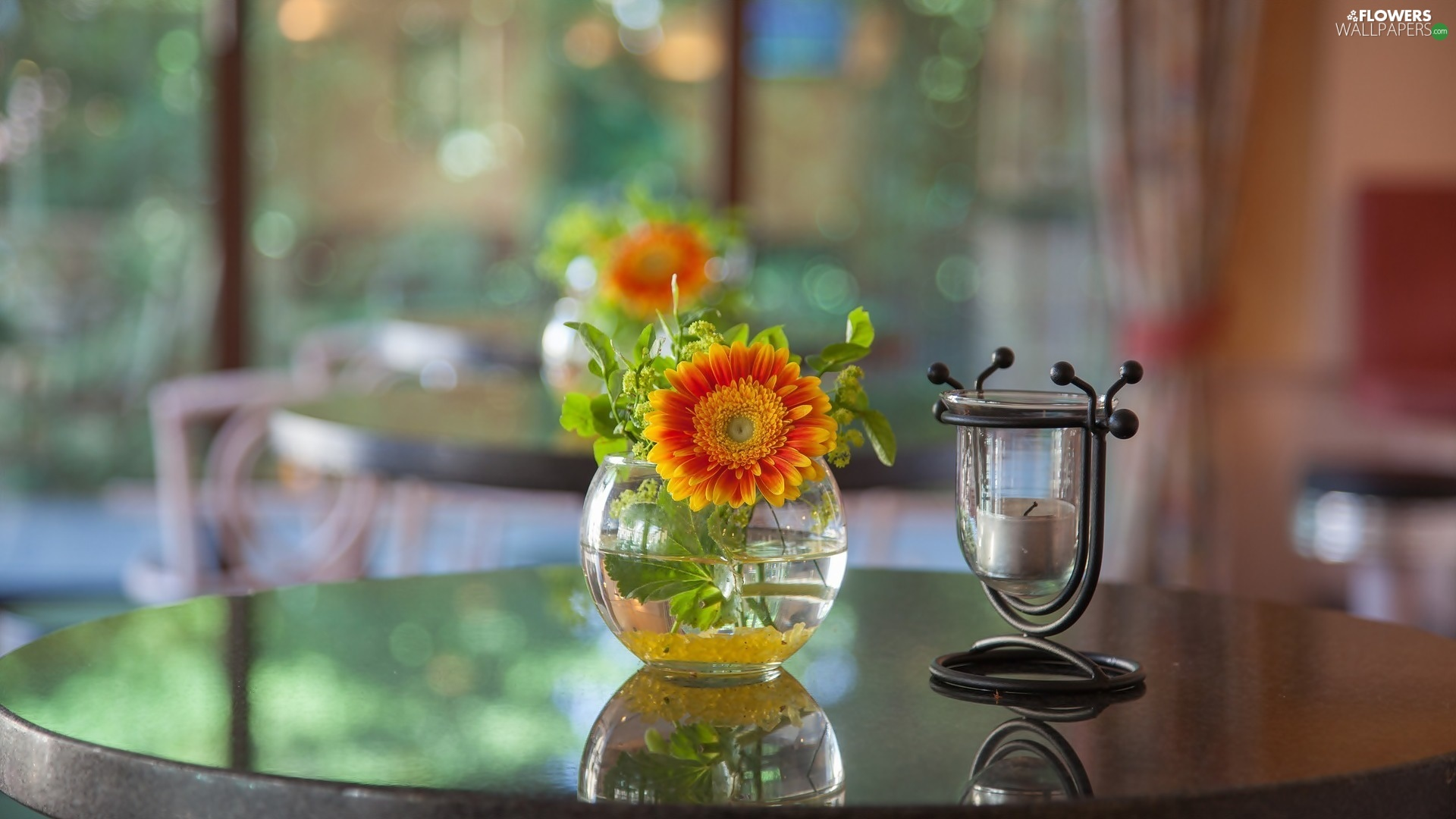Candle, blurry background, vase, Gerbera, decoration