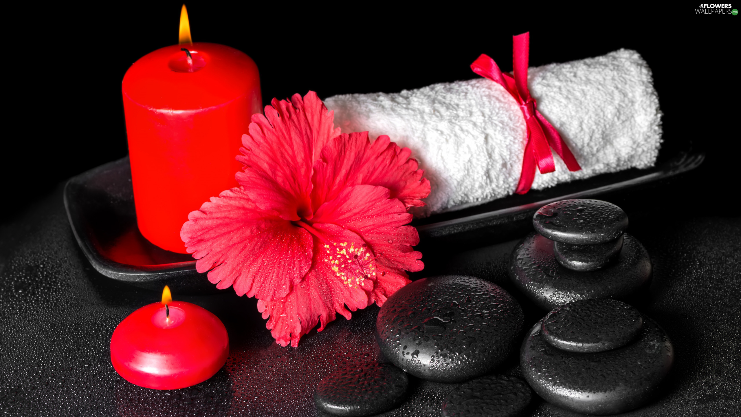 Candles, Stones, tray, Towel, hibiskus, Red, Spa, Colourfull Flowers