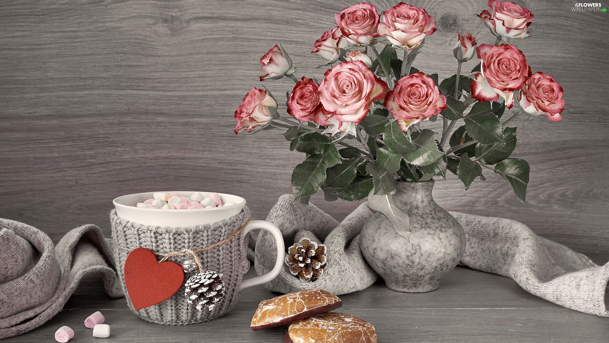 coffee, Cup, Foams, Heart teddybear, Scarf, composition, Vase, roses, cookies
