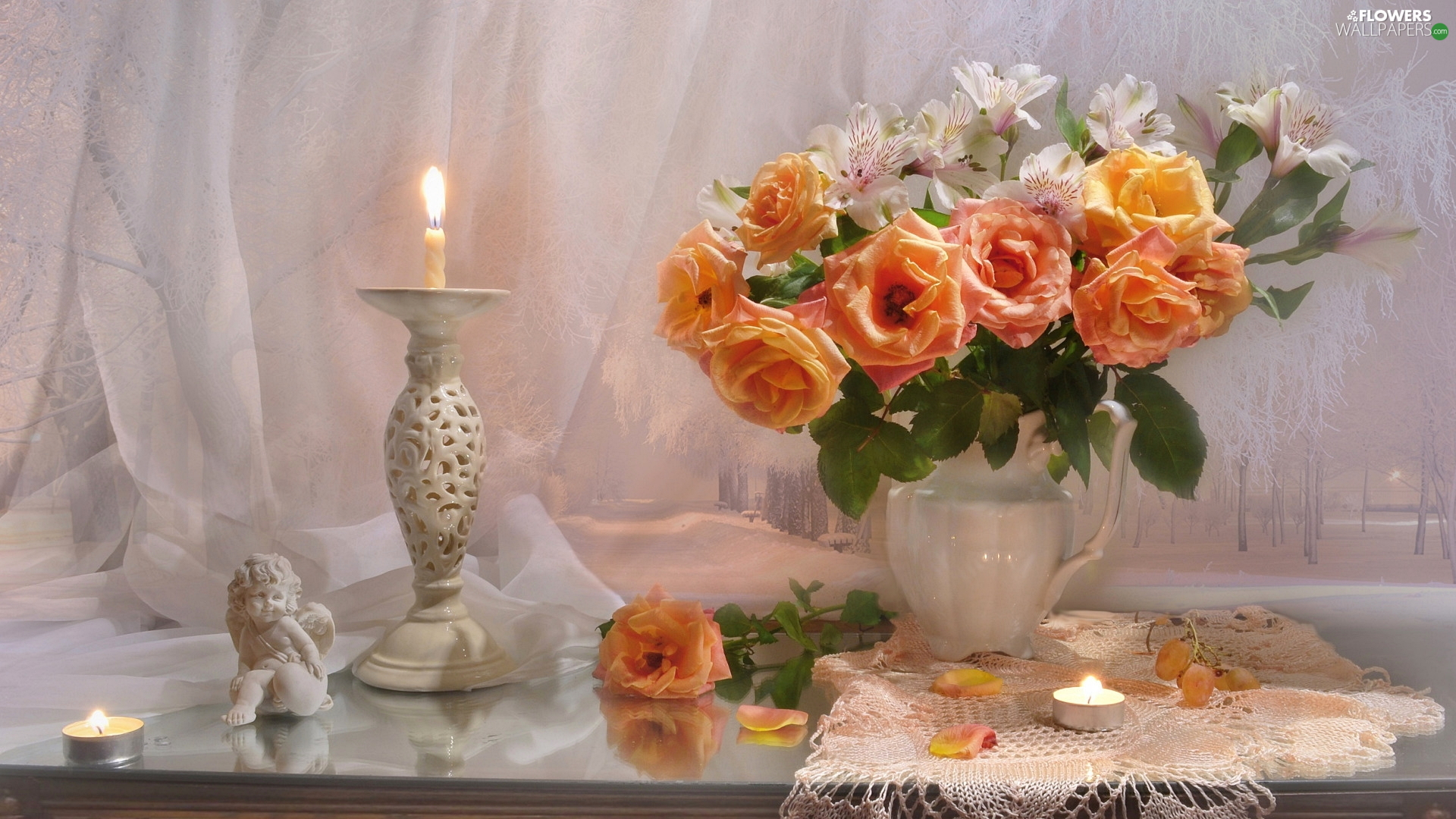 Flowers, composition, roses, Alstroemeria, angel, Table, candle, figure, Vase