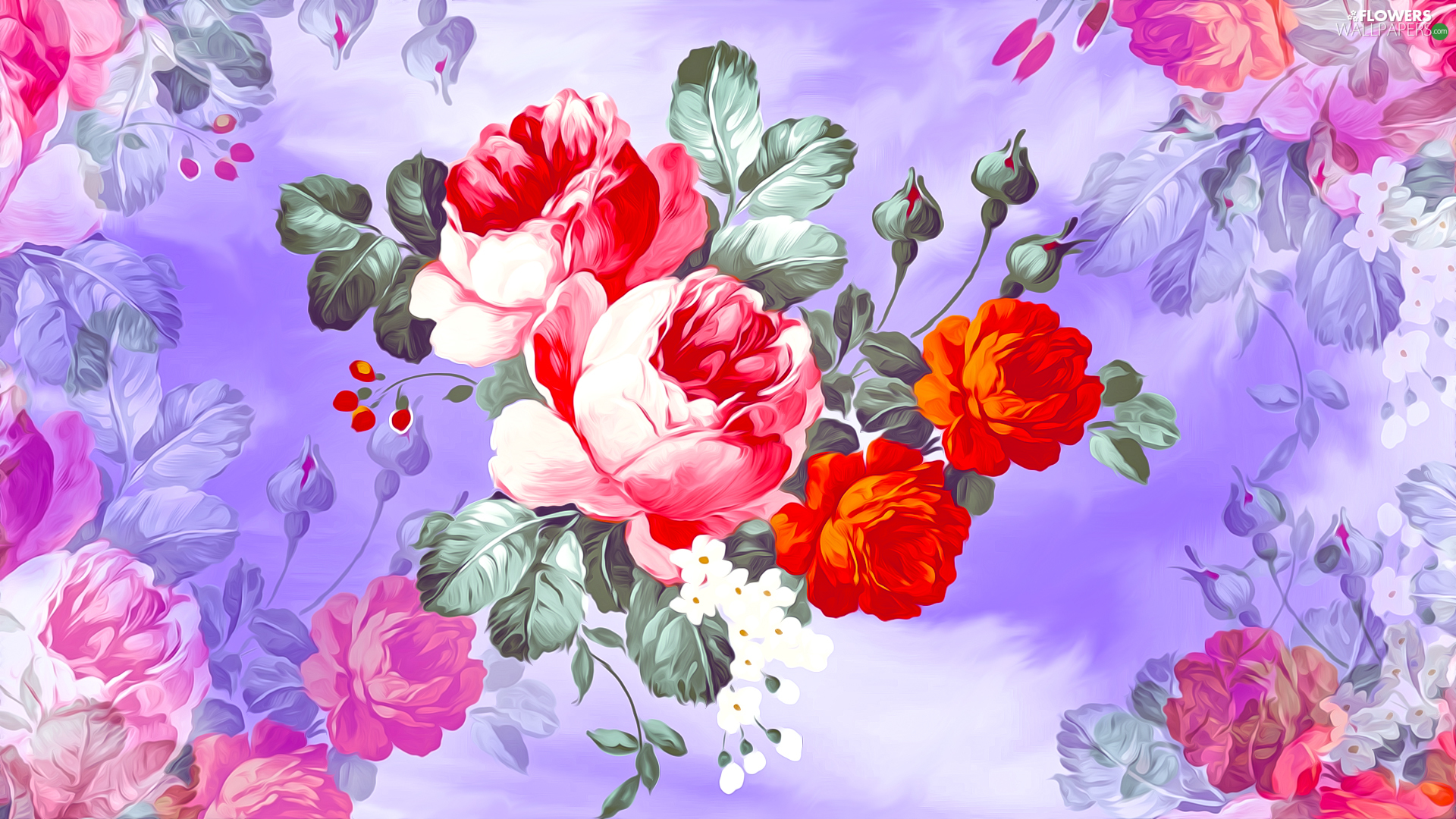 roses, graphics, Red, Pink, Flowers