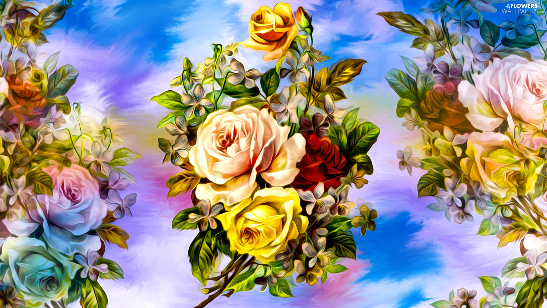 bouquet, Flowers, background, graphics, color, roses