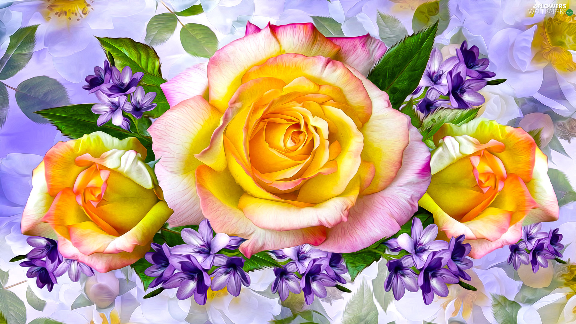 roses, Flowers, Flowers, graphics, purple, Yellow