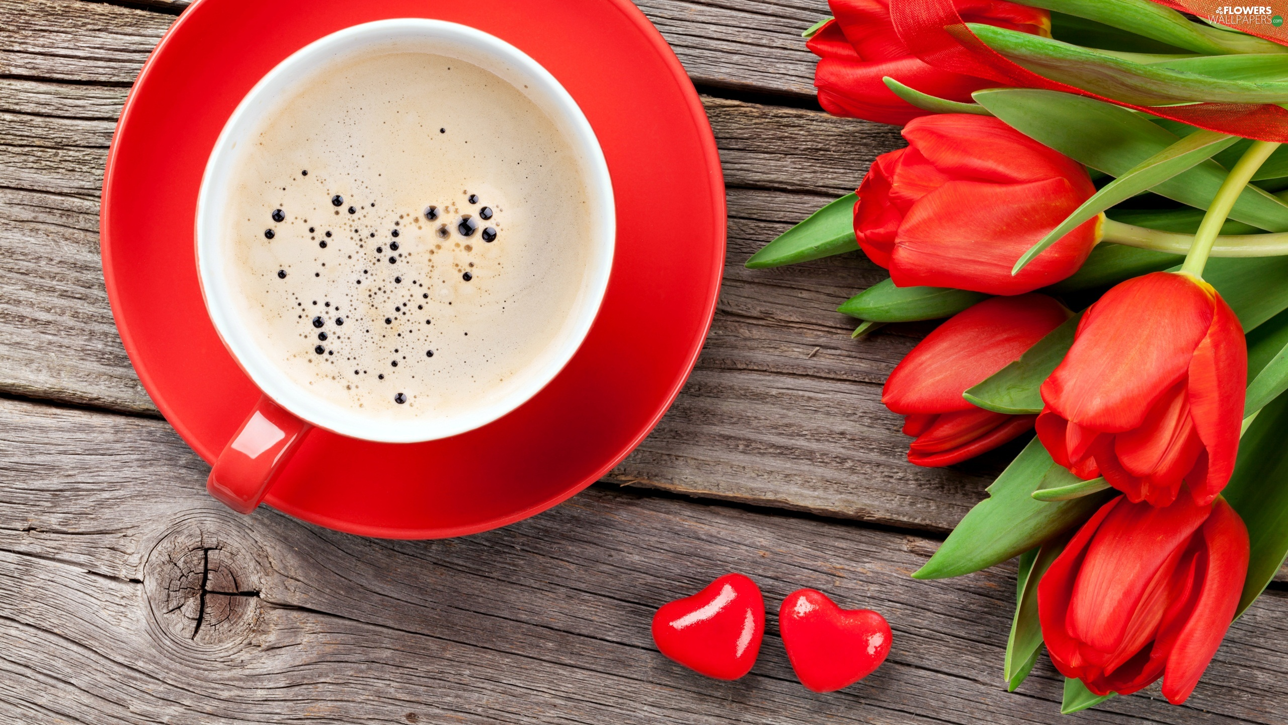 Tulips, coffee, plate, hearts, cup, Red