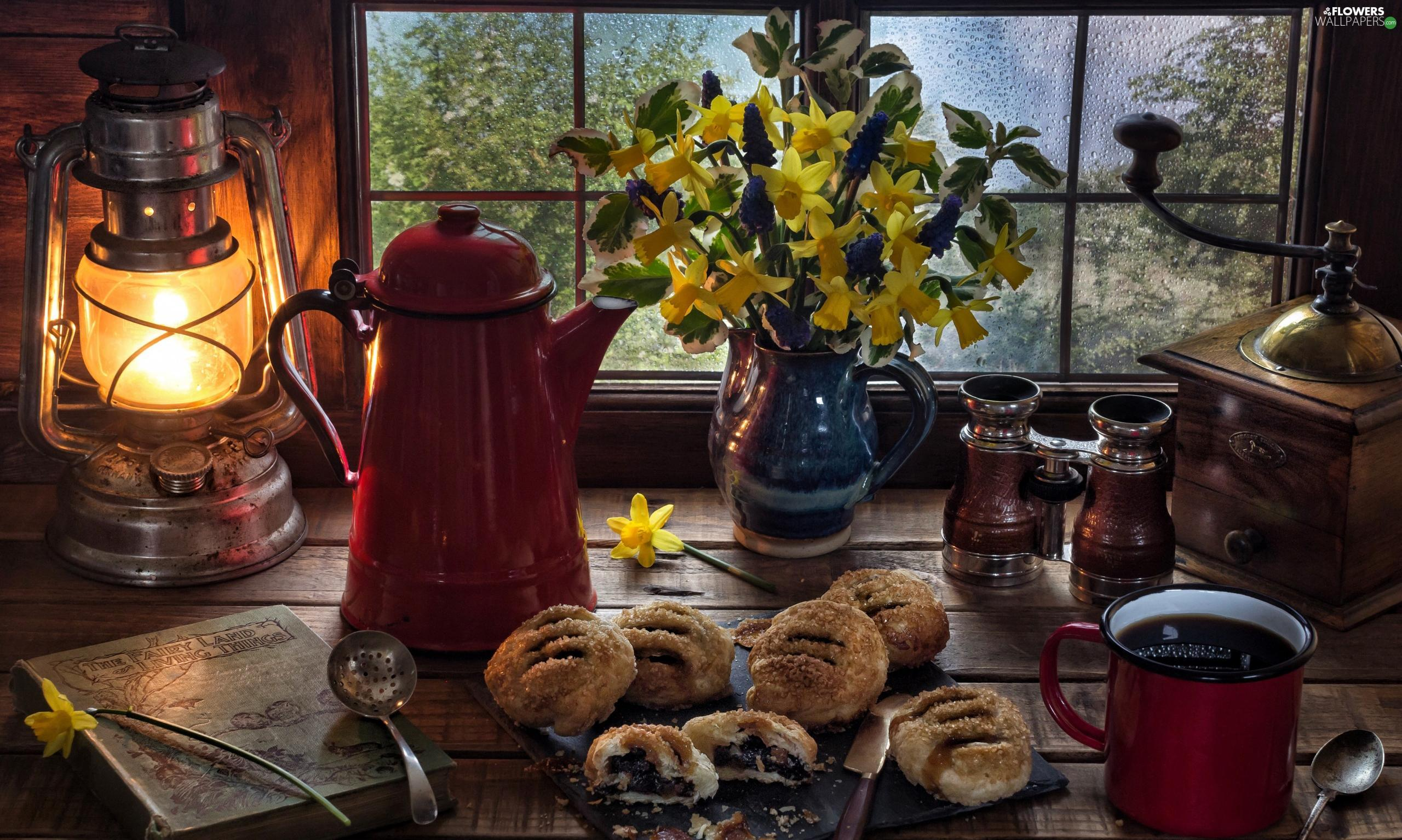 cookies, Book, coffee, jug, Vase, mill, binoculars, composition, Window, Oil Lamp, Daffodils, bouquet