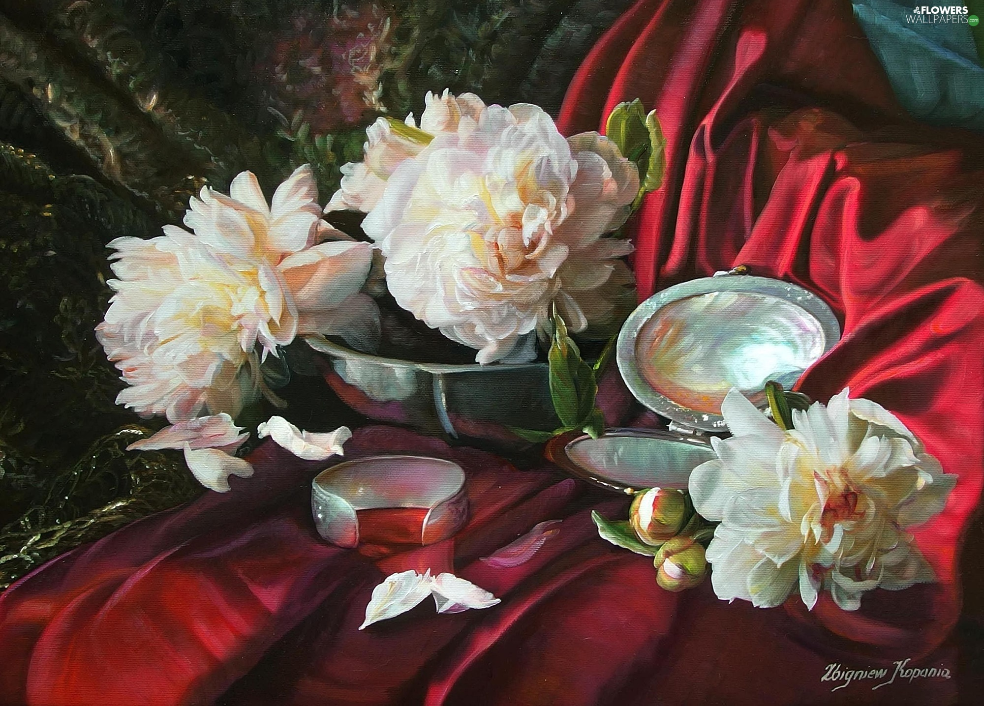 painting, Flowers, composition, Peonies, mirror, picture, Zbigniew Kopania, bracelet