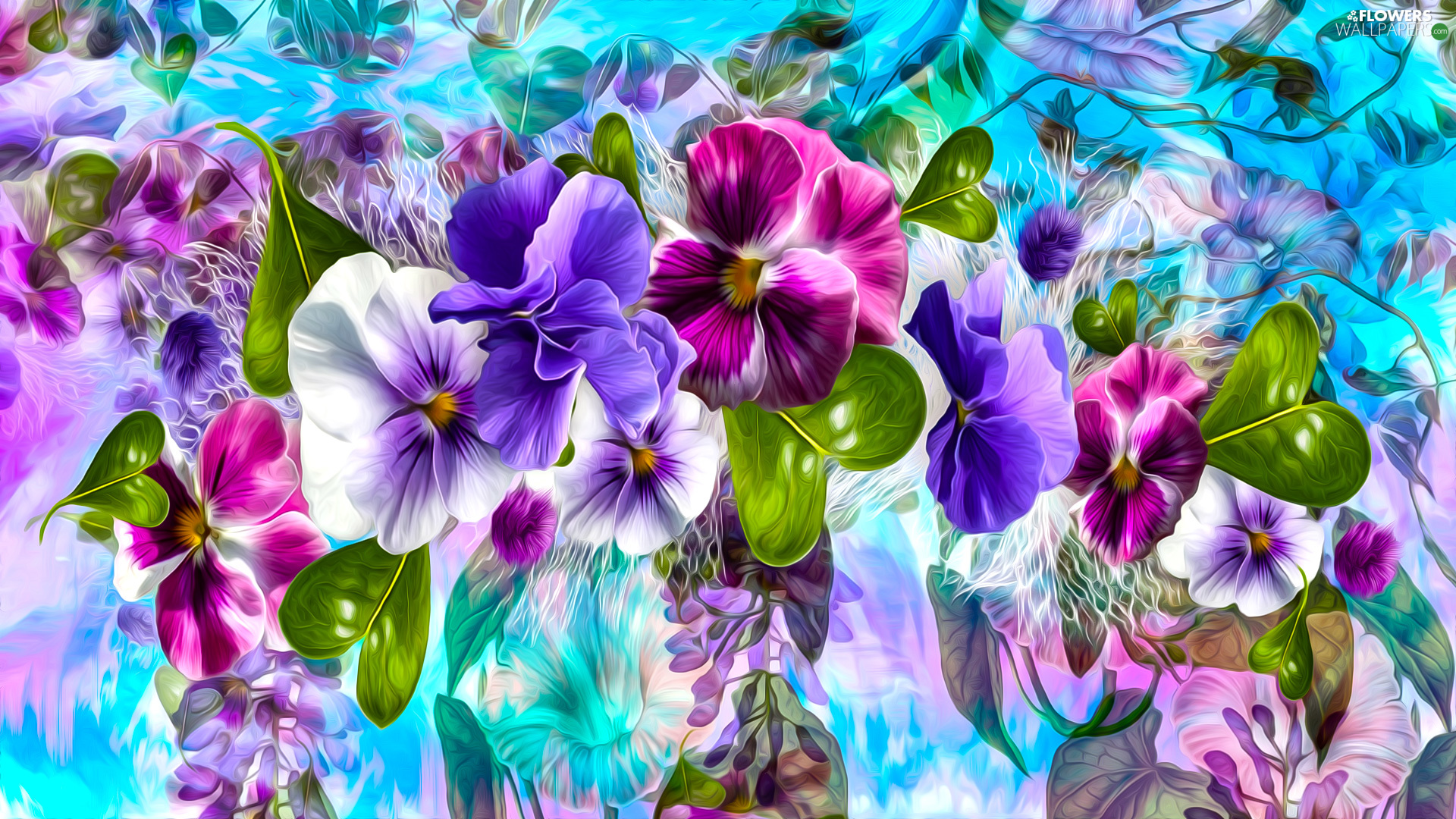 Flowers, leaves, graphics, pansies