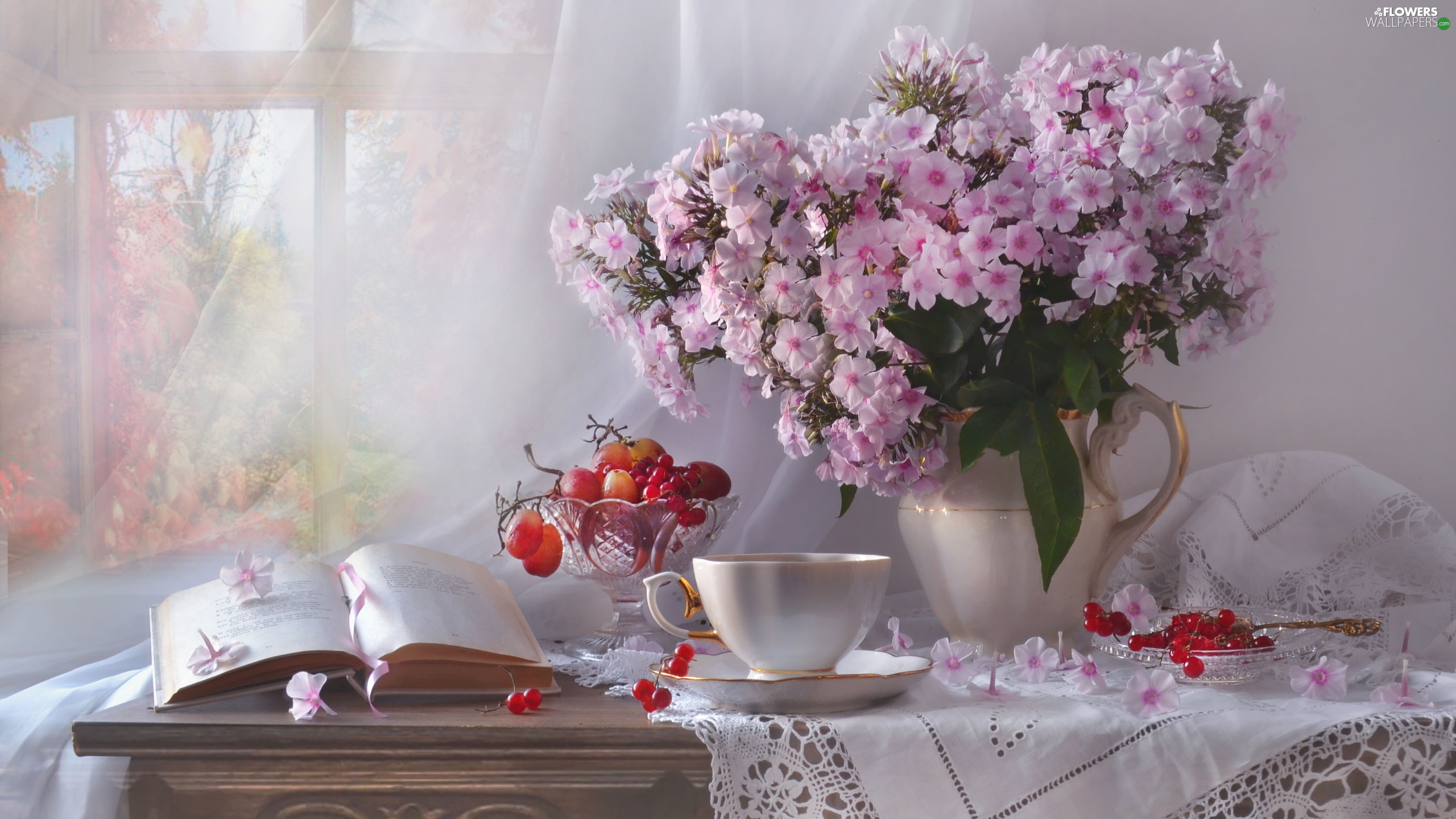 Grapes, bouquet, jug, tablecloth, cup, Flowers, phlox, composition, Red Currant, Book