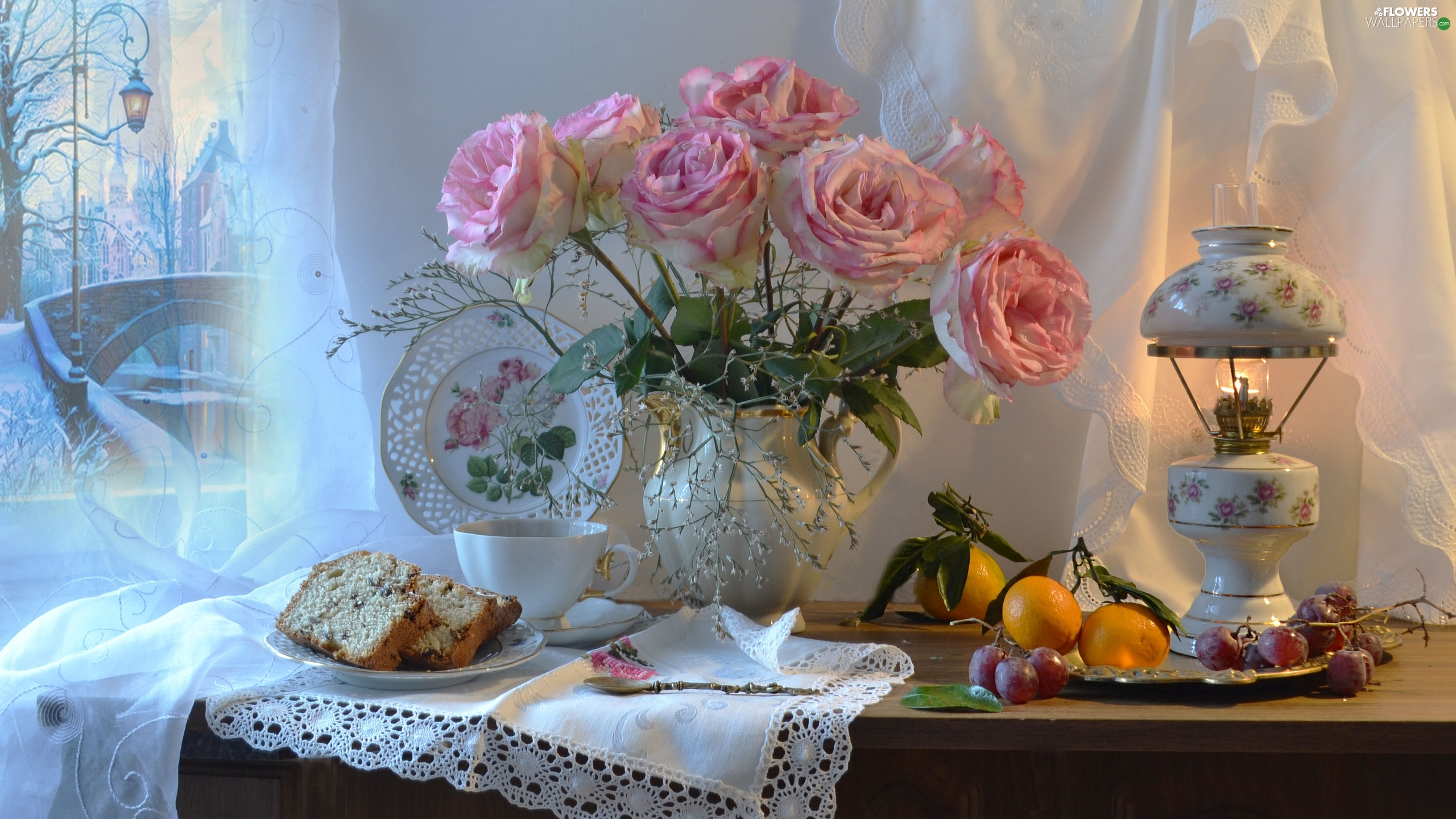 bouquet, jug, Fruits, Lamp, cake, roses, Pink, Plates