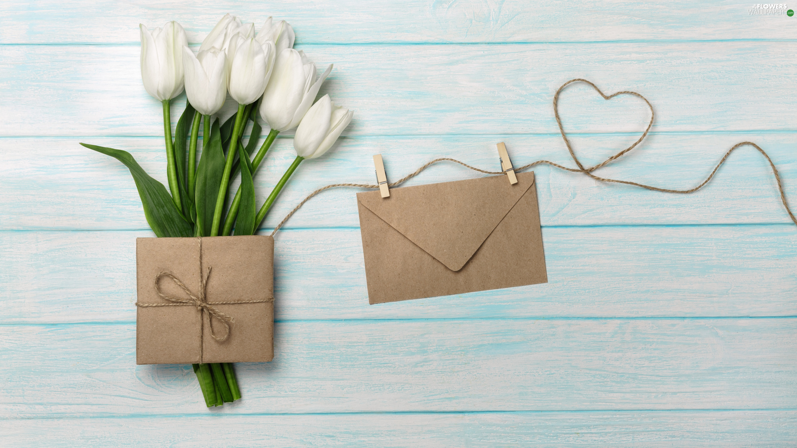 envelope, Tulips, Heart, Present, White, twine, Buckles