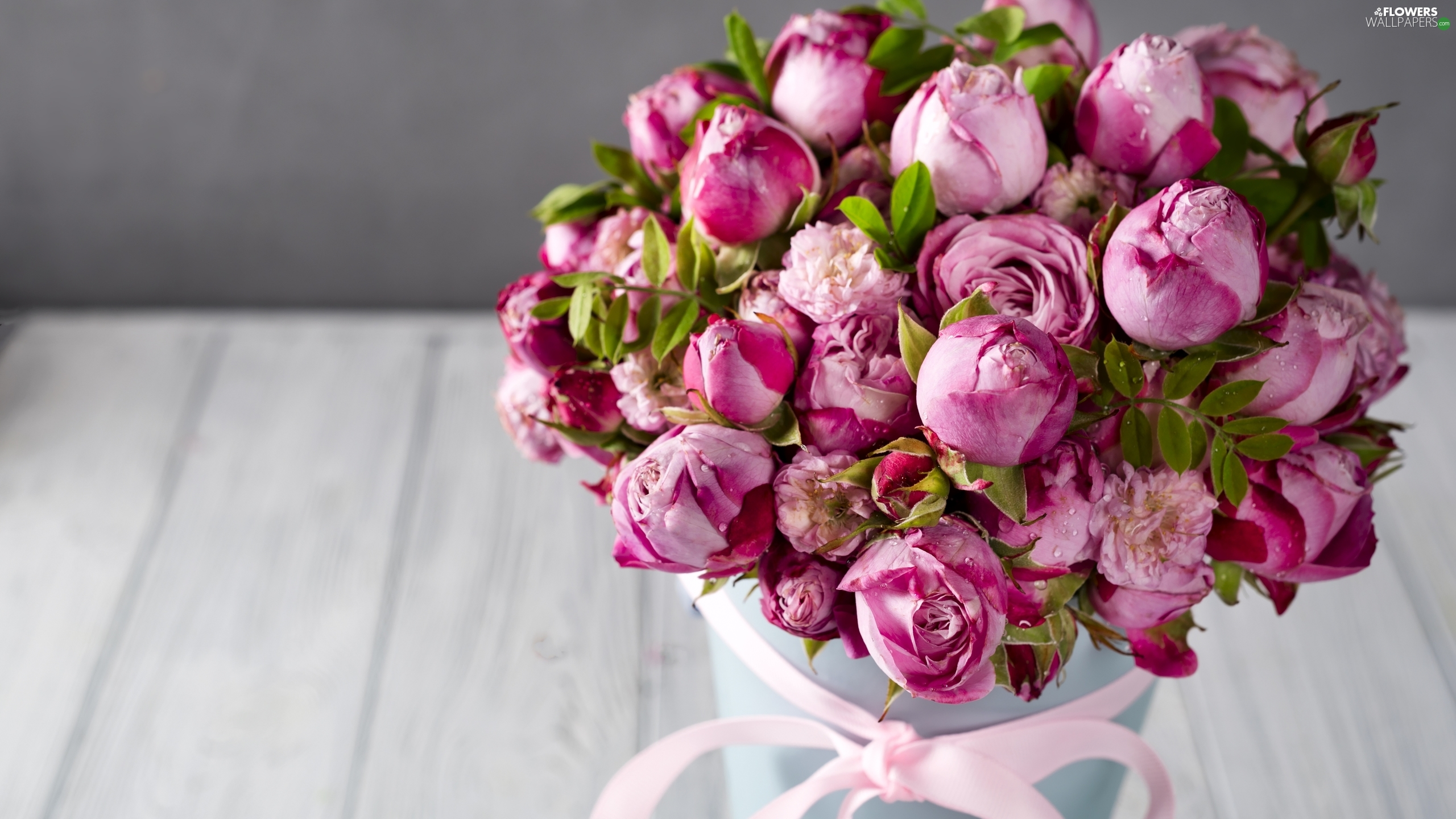 roses, ribbon, Buds, Pink, bouquet