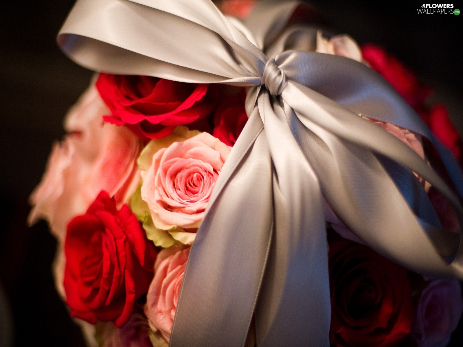 ribbon, bouquet, rouge