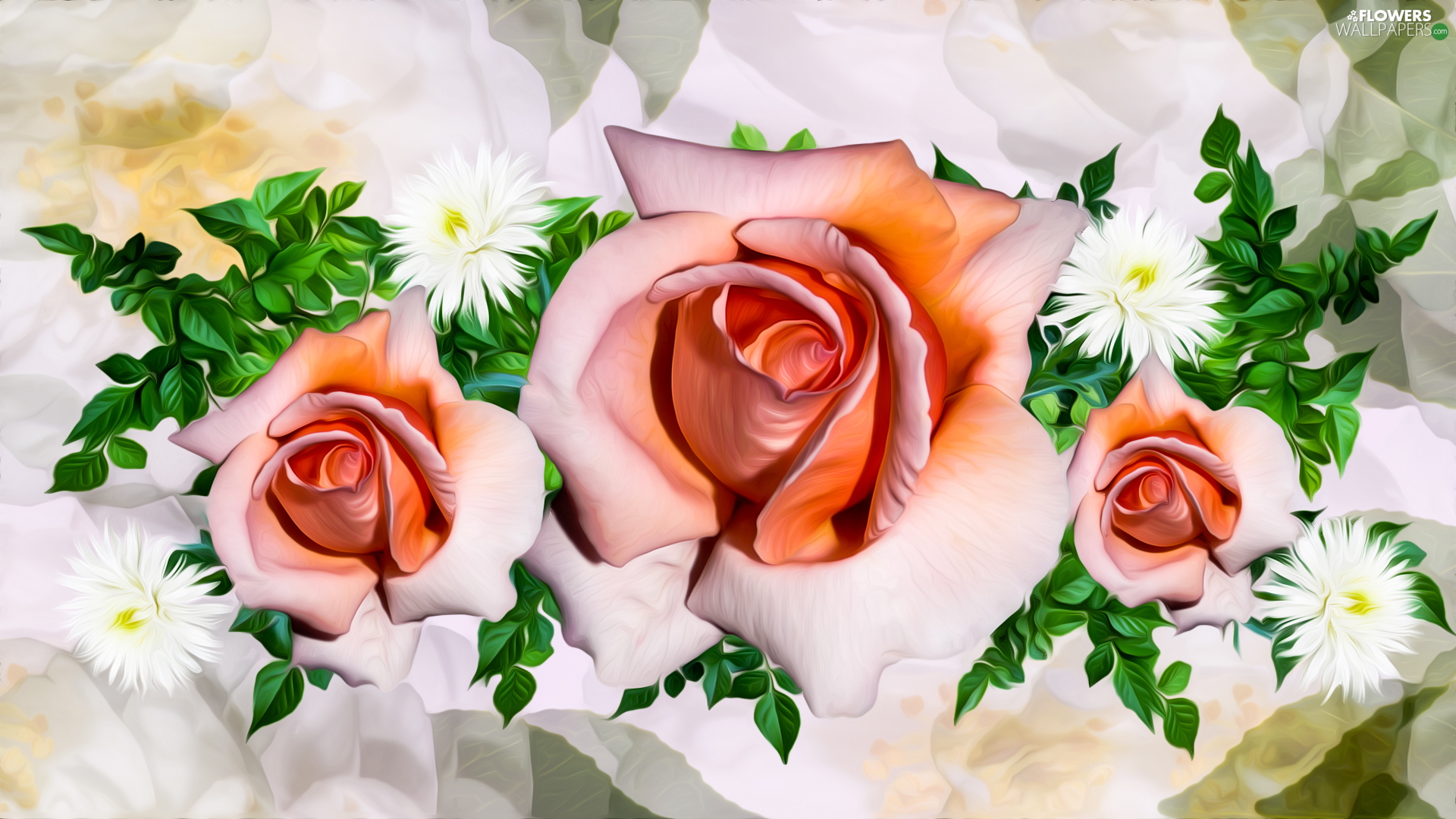 Flowers, roses, graphics, Three