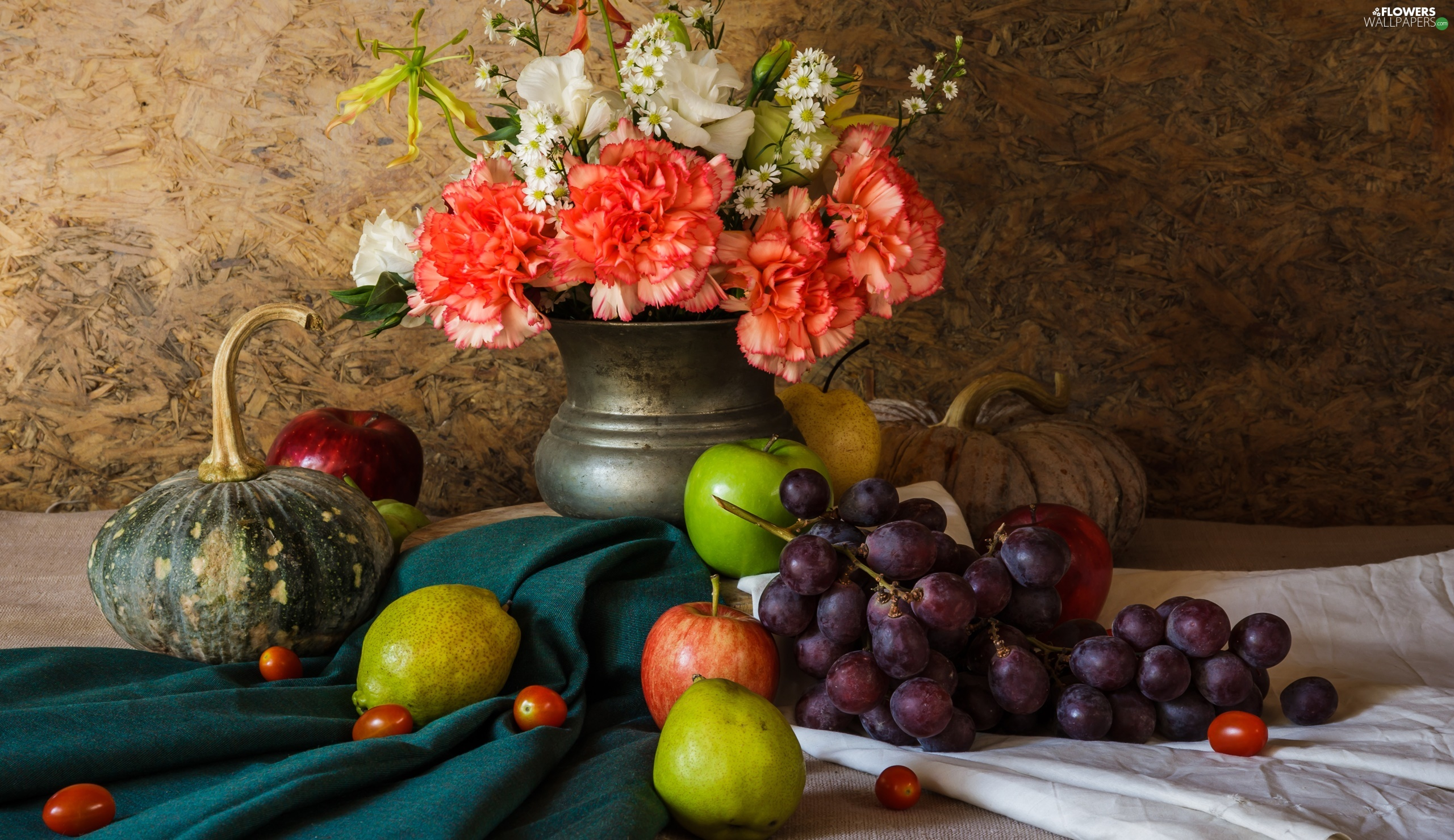 Fruits, Cloves, pumpkin, Vase, Flowers, Grapes, composition