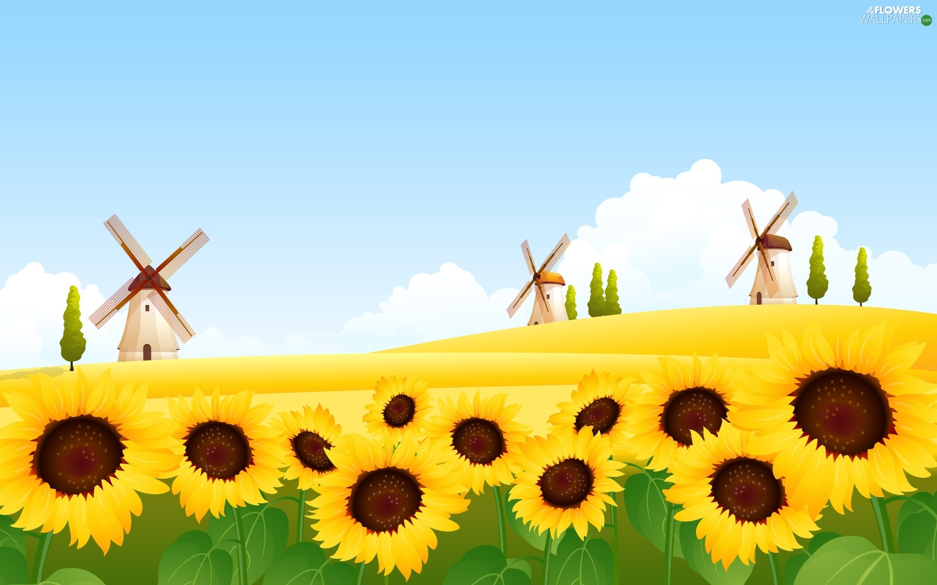 Landscape, Nice Sunflowers, Windmills, Field
