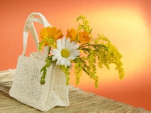 White, Flowers, bag, Yellow