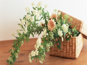 bouquet, wicker, basket, flowers
