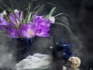 teapot, crocuses, blue