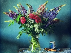 bowl, Flowers, lupine