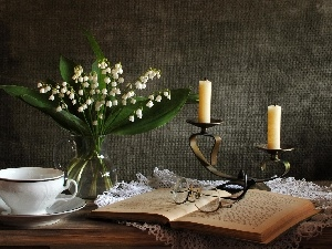 lilies, Glasses, candlestick, Book