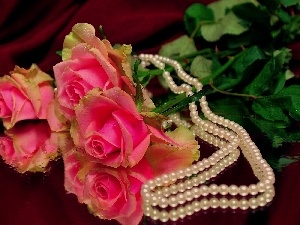 bouquet, rouge, chaplet, pink