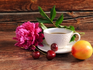 cherries, peony, coffee, cup, composition