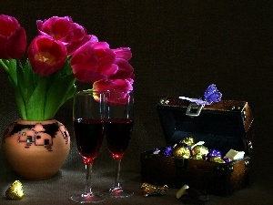 Chocolates, Tulips, Wine