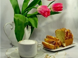 jug, cake, coffee, Tulips