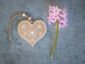 Colourfull Flowers, wood, hyacinth, Heart, Pendant, Pink, Grey Background