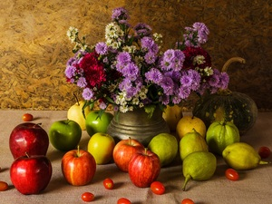 apples, Vase, Flowers, vegetables, Aster, composition, bouquet, pumpkin, truck concrete mixer, Fruits